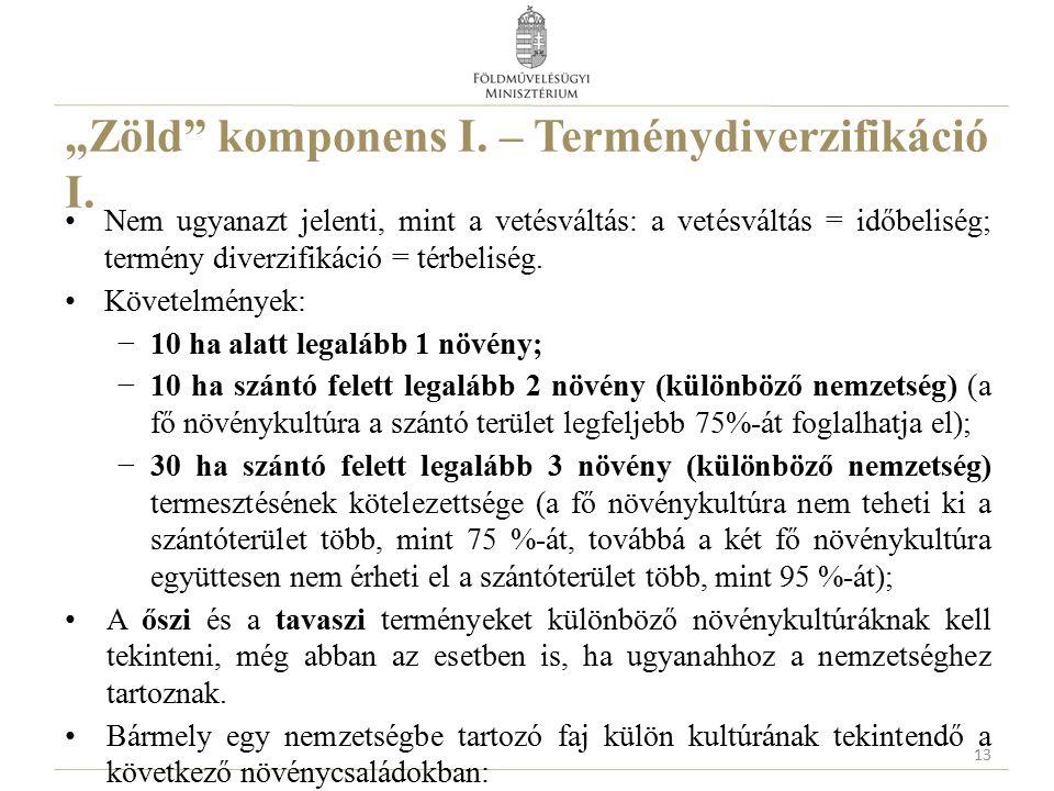 """""""Zöld komponens I. – Terménydiverzifikáció I."""