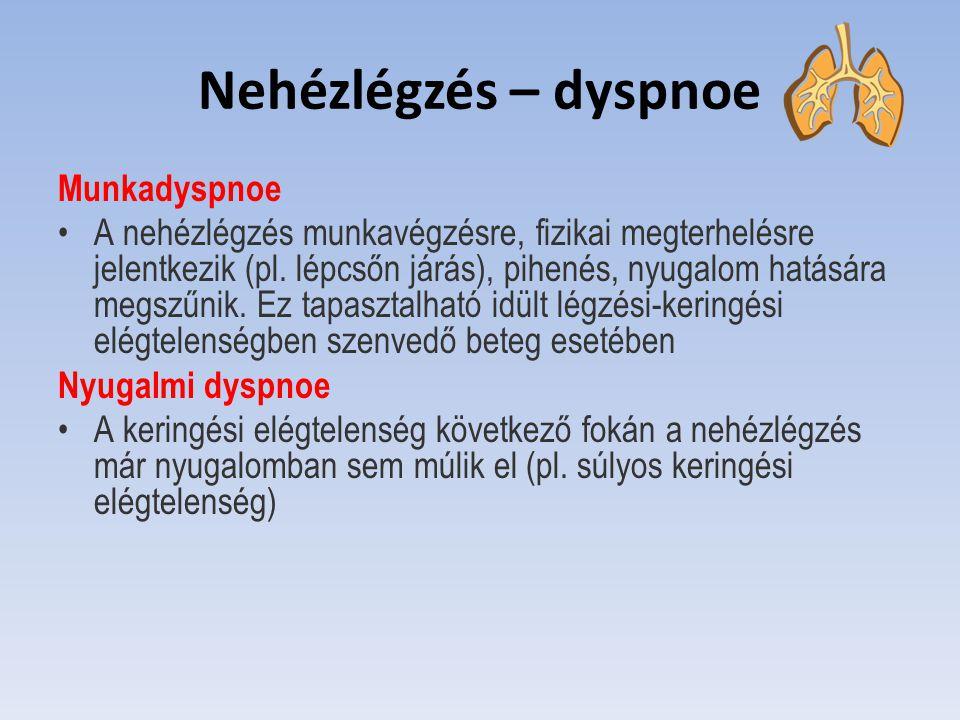 Nehézlégzés – dyspnoe Munkadyspnoe