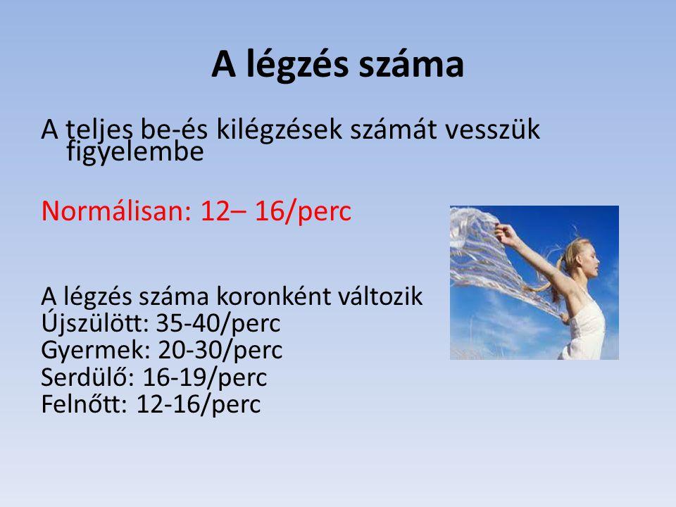 A légzés száma A teljes be-és kilégzések számát vesszük figyelembe