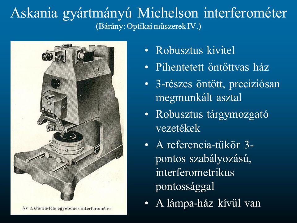 Askania gyártmányú Michelson interferométer (Bárány: Optikai műszerek IV.)