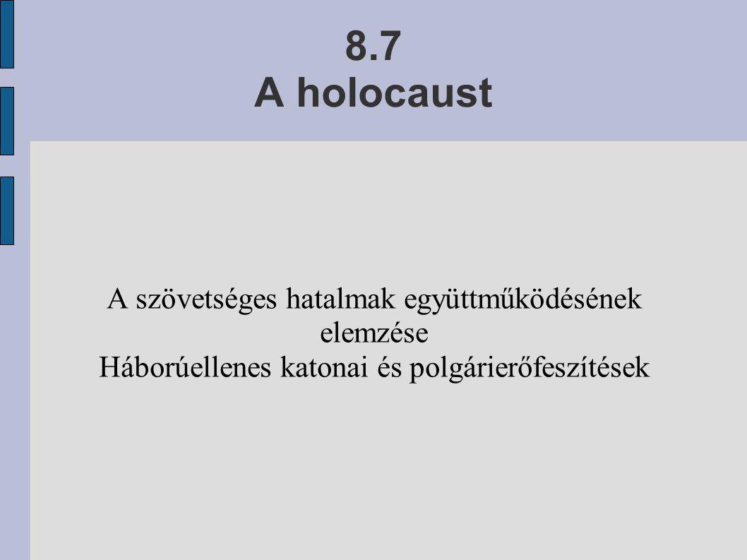 8.7 A holocaust A szövetséges hatalmak együttműködésének elemzése