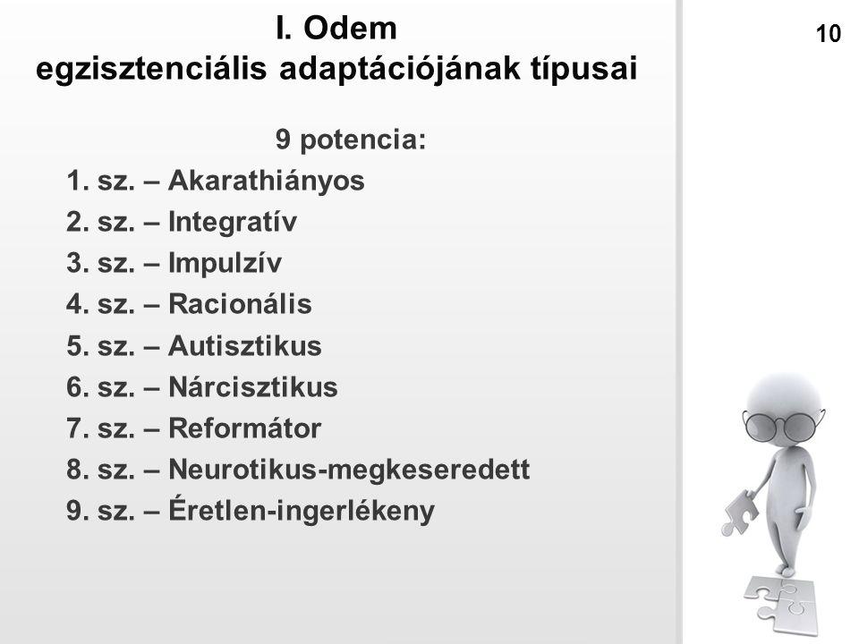 I. Odem egzisztenciális adaptációjának típusai
