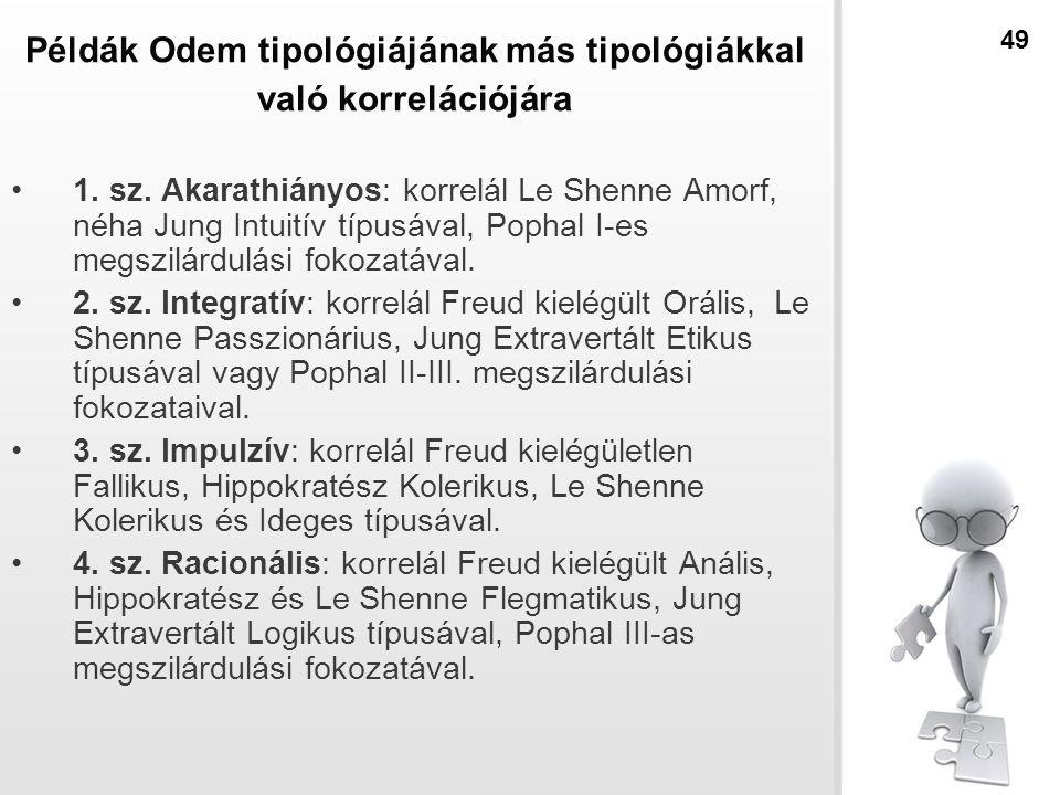 Példák Odem tipológiájának más tipológiákkal való korrelációjára