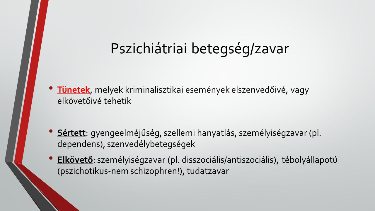 Pszichiátriai betegség/zavar