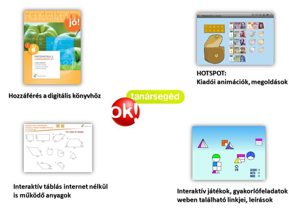 HOTSPOT: Kiadói animációk, megoldások. Hozzáférés a digitális könyvhöz. Interaktív táblás internet nélkül.