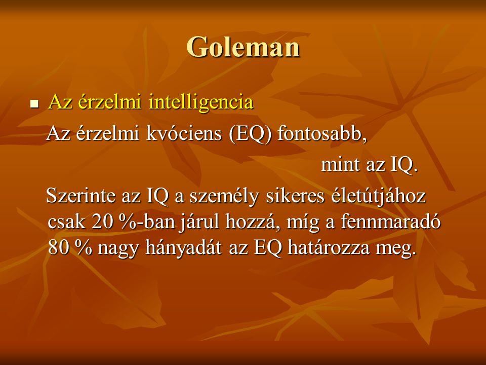 Goleman Az érzelmi intelligencia Az érzelmi kvóciens (EQ) fontosabb,