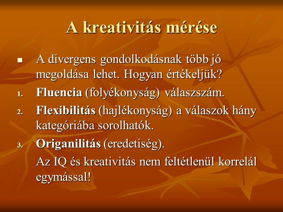 A kreativitás mérése A divergens gondolkodásnak több jó megoldása lehet. Hogyan értékeljük Fluencia (folyékonyság) válaszszám.