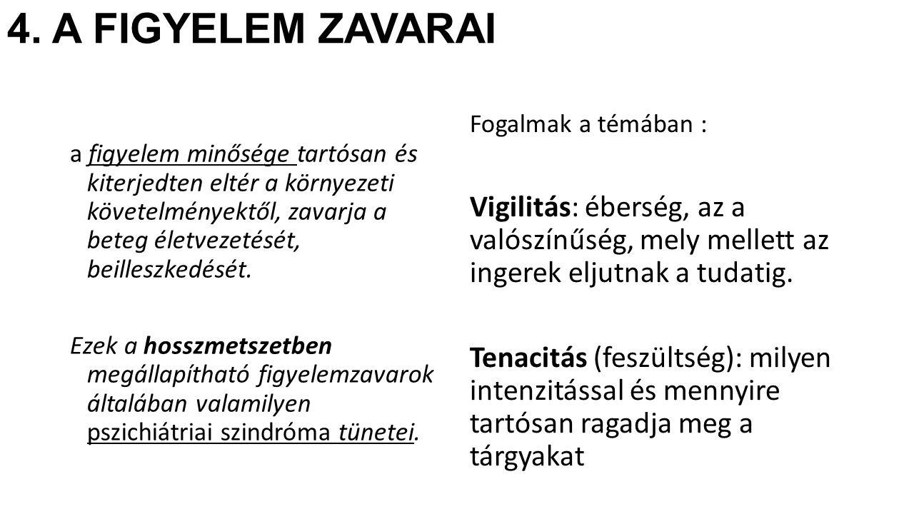 4. A FIGYELEM ZAVARAI Fogalmak a témában : Vigilitás: éberség, az a valószínűség, mely mellett az ingerek eljutnak a tudatig.