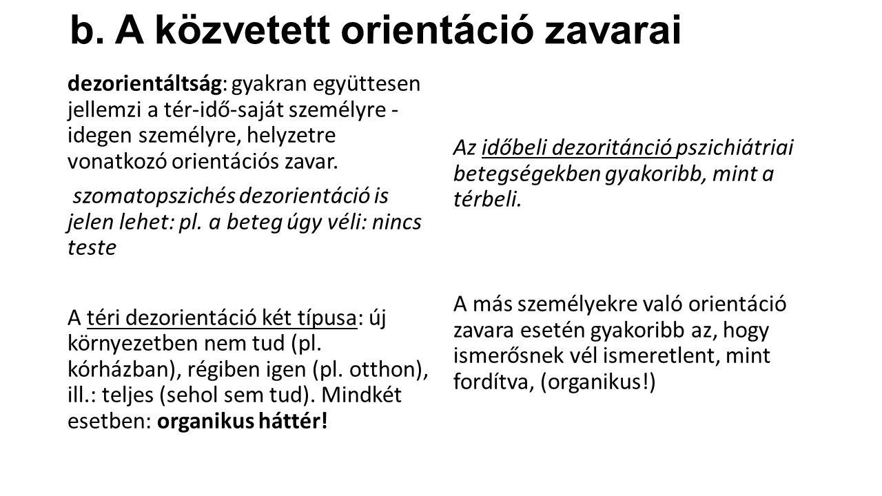 b. A közvetett orientáció zavarai