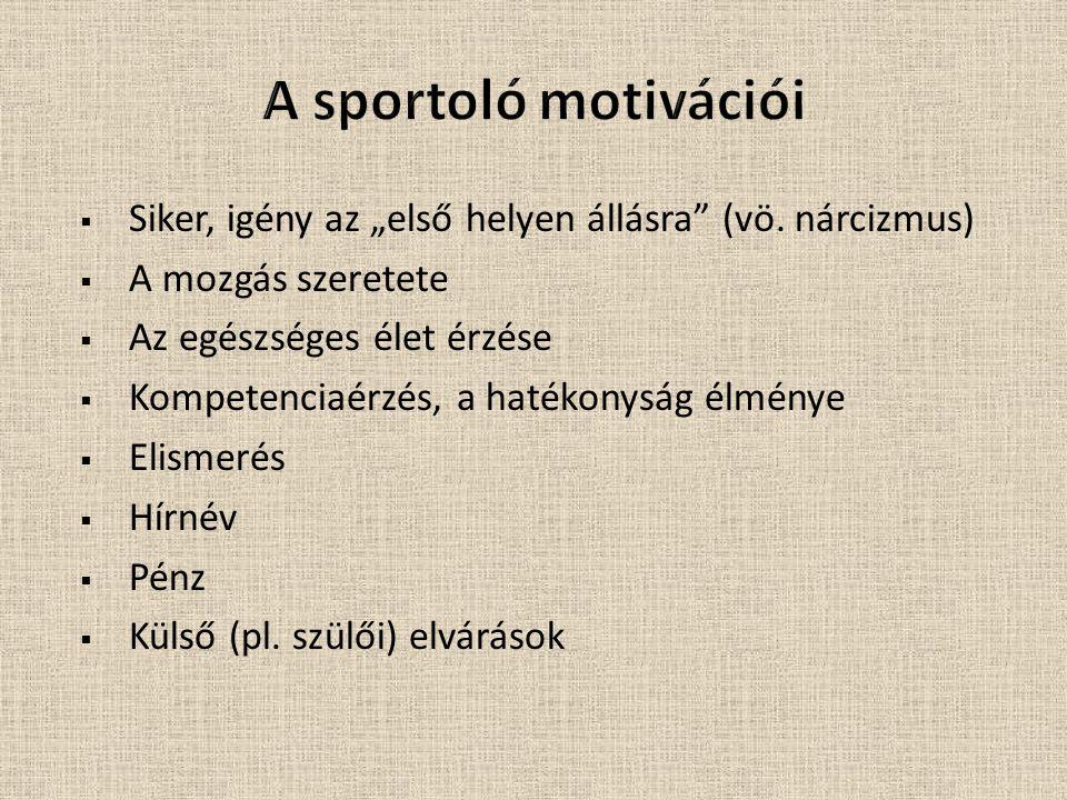 """A sportoló motivációi Siker, igény az """"első helyen állásra (vö. nárcizmus) A mozgás szeretete. Az egészséges élet érzése."""