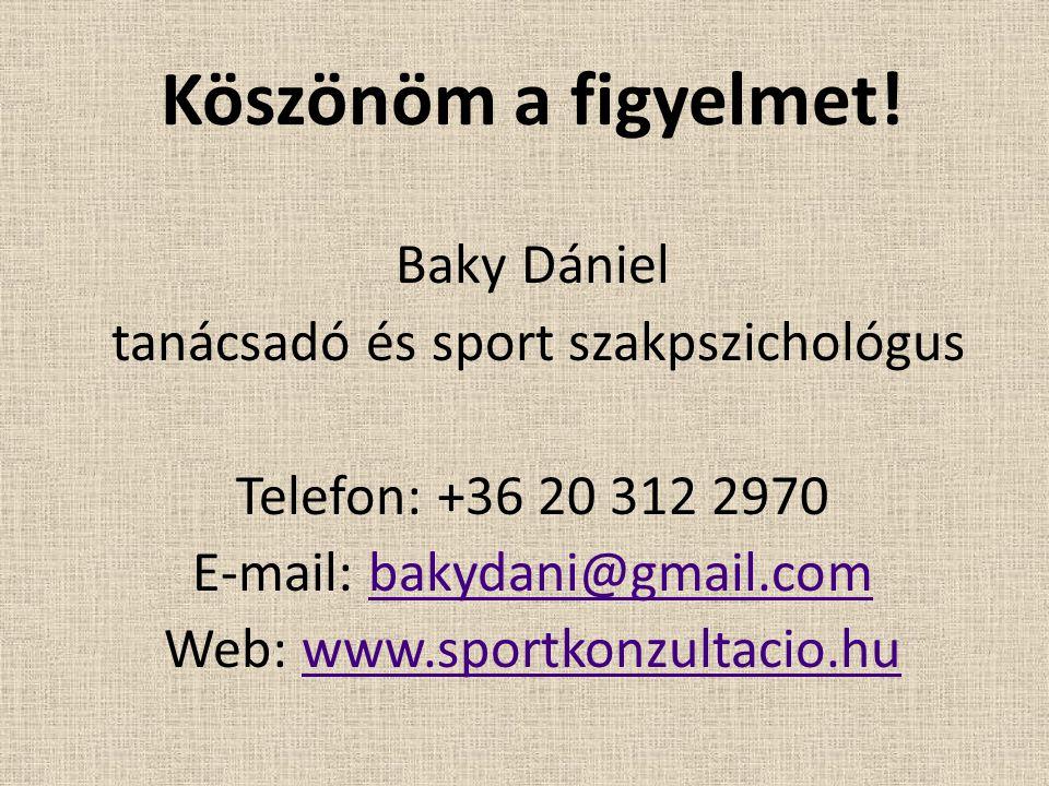 Köszönöm a figyelmet! Baky Dániel tanácsadó és sport szakpszichológus