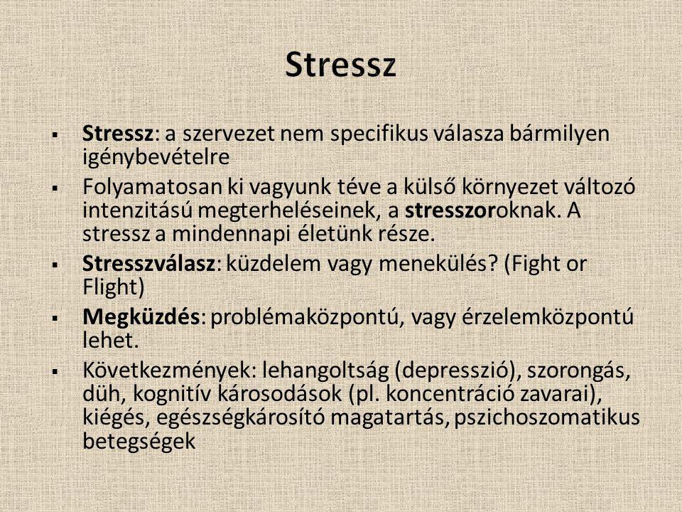 Stressz Stressz: a szervezet nem specifikus válasza bármilyen igénybevételre.