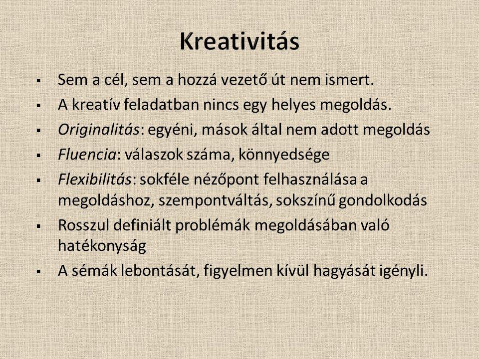 Kreativitás Sem a cél, sem a hozzá vezető út nem ismert.