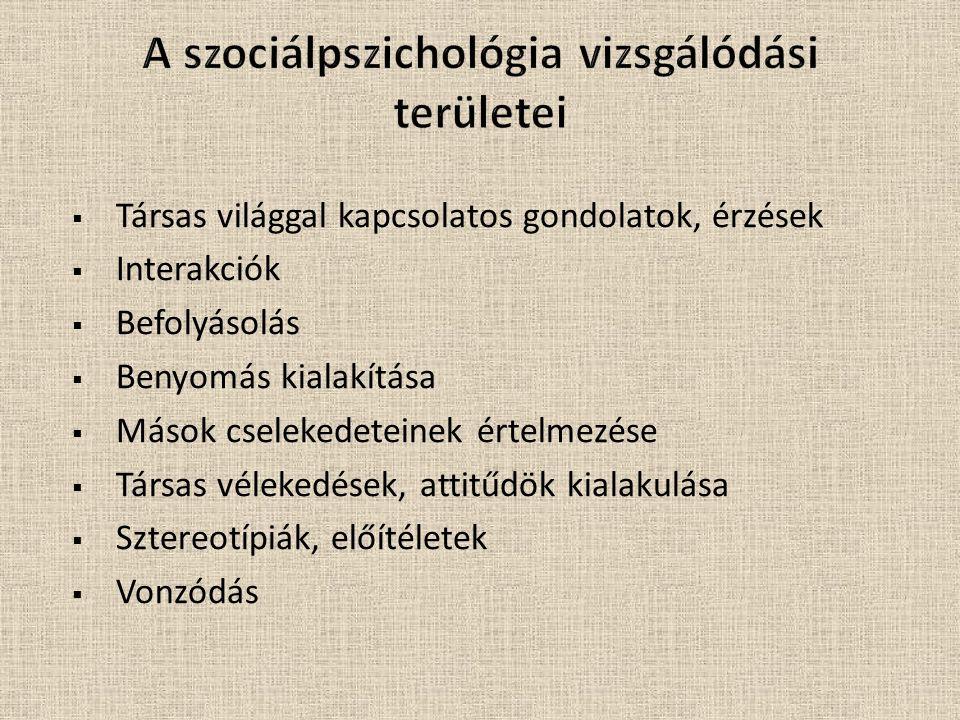 A szociálpszichológia vizsgálódási területei