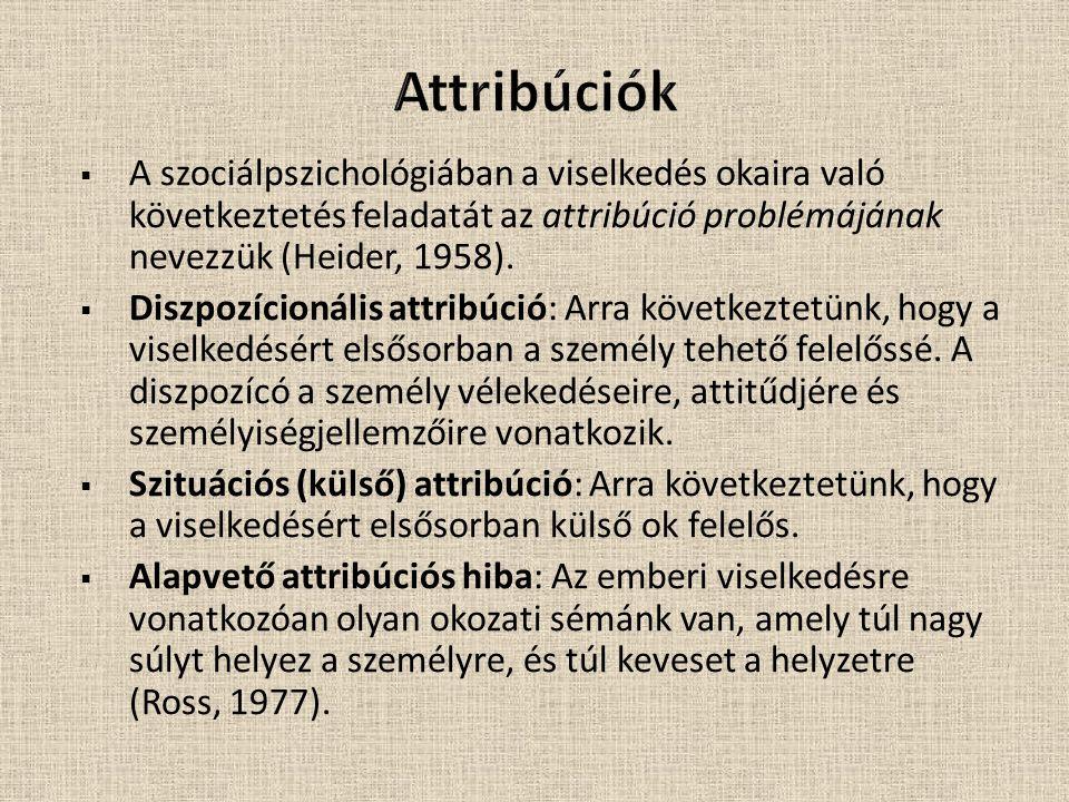 Attribúciók A szociálpszichológiában a viselkedés okaira való következtetés feladatát az attribúció problémájának nevezzük (Heider, 1958).