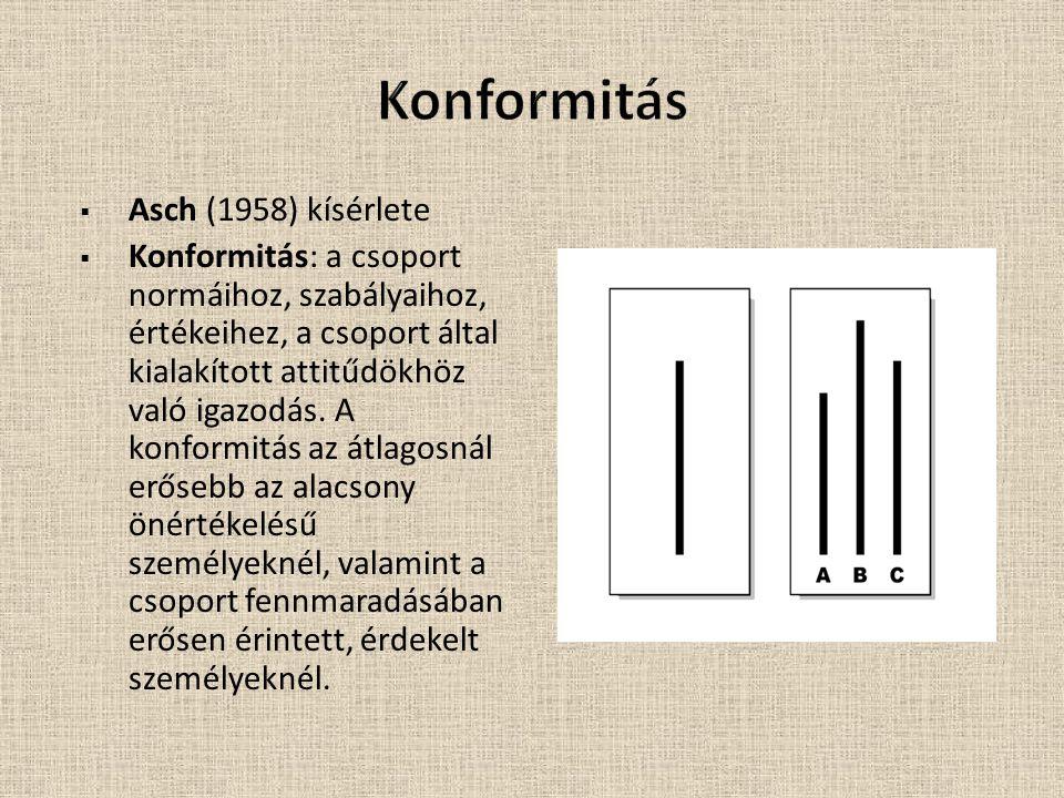 Konformitás Asch (1958) kísérlete