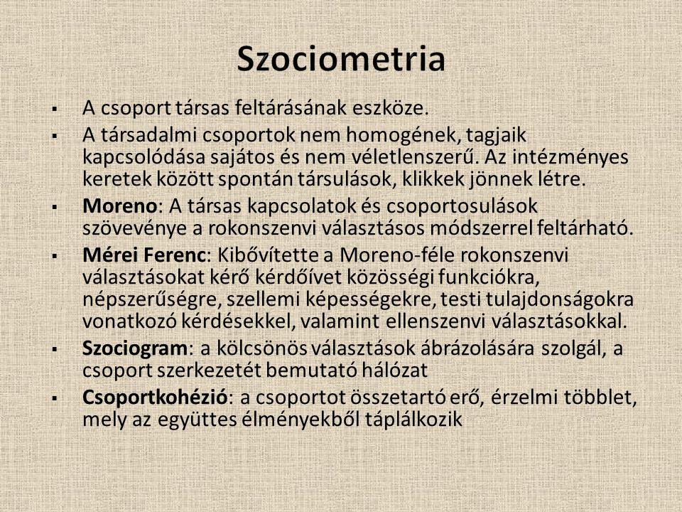 Szociometria A csoport társas feltárásának eszköze.