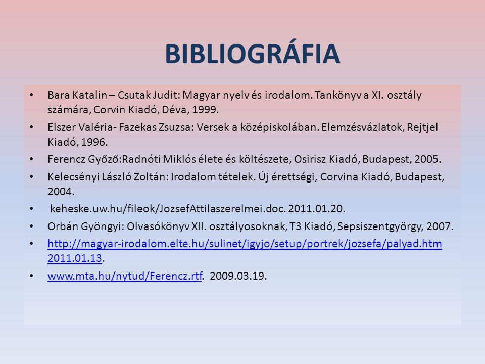 BIBLIOGRÁFIA Bara Katalin – Csutak Judit: Magyar nyelv és irodalom. Tankönyv a XI. osztály számára, Corvin Kiadó, Déva, 1999.
