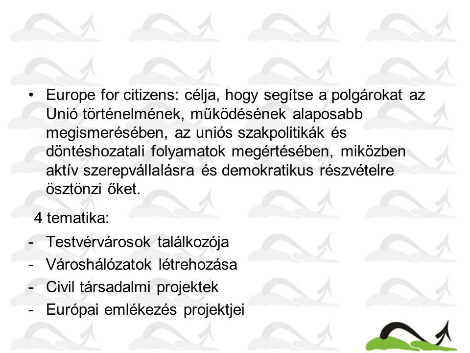 Europe for citizens: célja, hogy segítse a polgárokat az Unió történelmének, működésének alaposabb megismerésében, az uniós szakpolitikák és döntéshozatali folyamatok megértésében, miközben aktív szerepvállalásra és demokratikus részvételre ösztönzi őket.