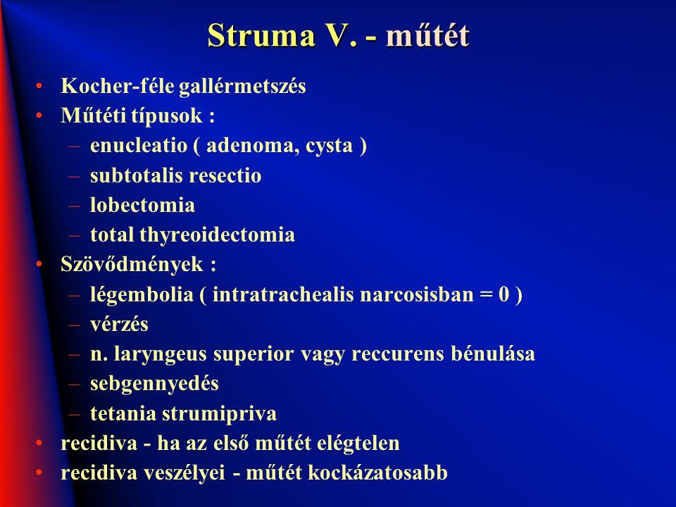 Struma V. - műtét Kocher-féle gallérmetszés Műtéti típusok :
