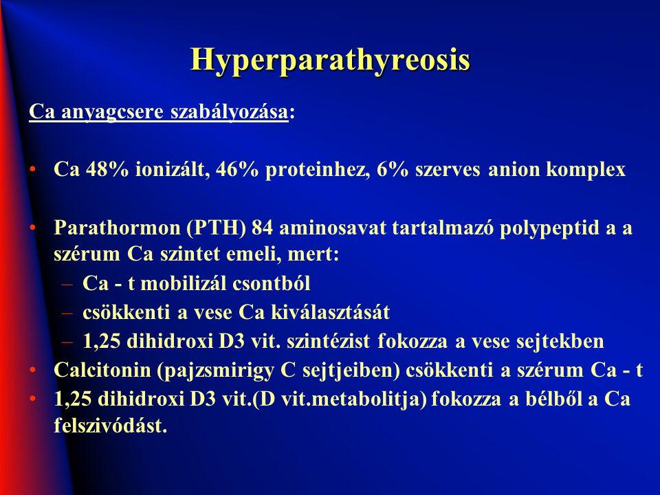 Hyperparathyreosis Ca anyagcsere szabályozása: