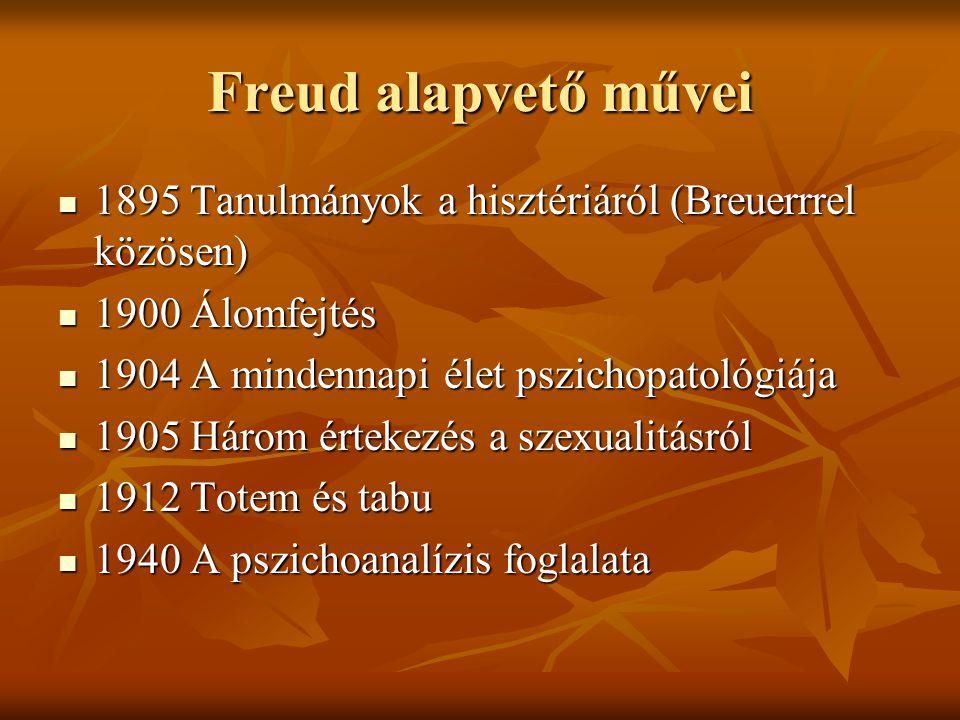 Freud alapvető művei 1895 Tanulmányok a hisztériáról (Breuerrrel közösen) 1900 Álomfejtés. 1904 A mindennapi élet pszichopatológiája.