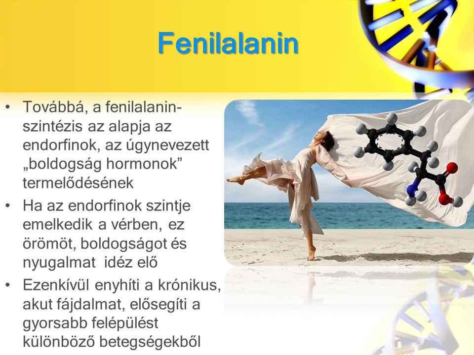 """Fenilalanin Továbbá, a fenilalanin- szintézis az alapja az endorfinok, az úgynevezett """"boldogság hormonok termelődésének."""