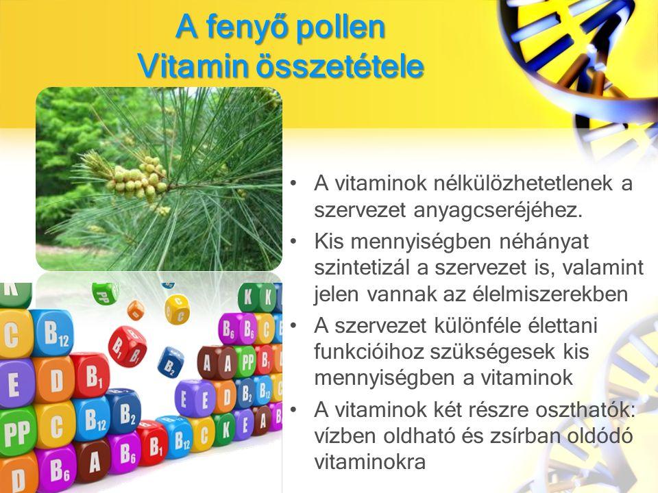 A fenyő pollen Vitamin összetétele