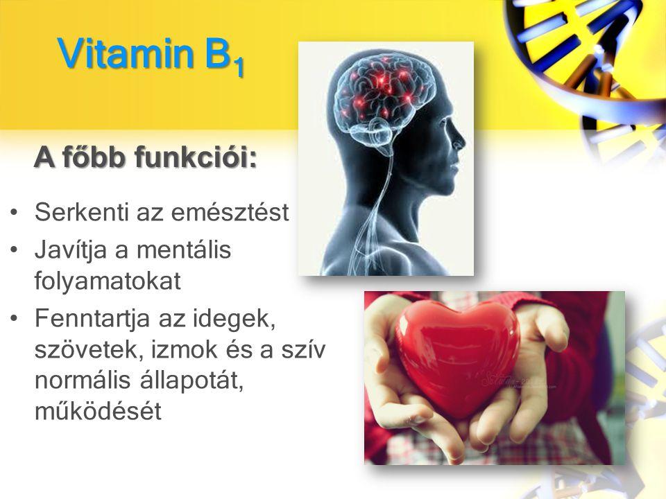 A főbb funkciói: Vitamin B1 Serkenti az emésztést