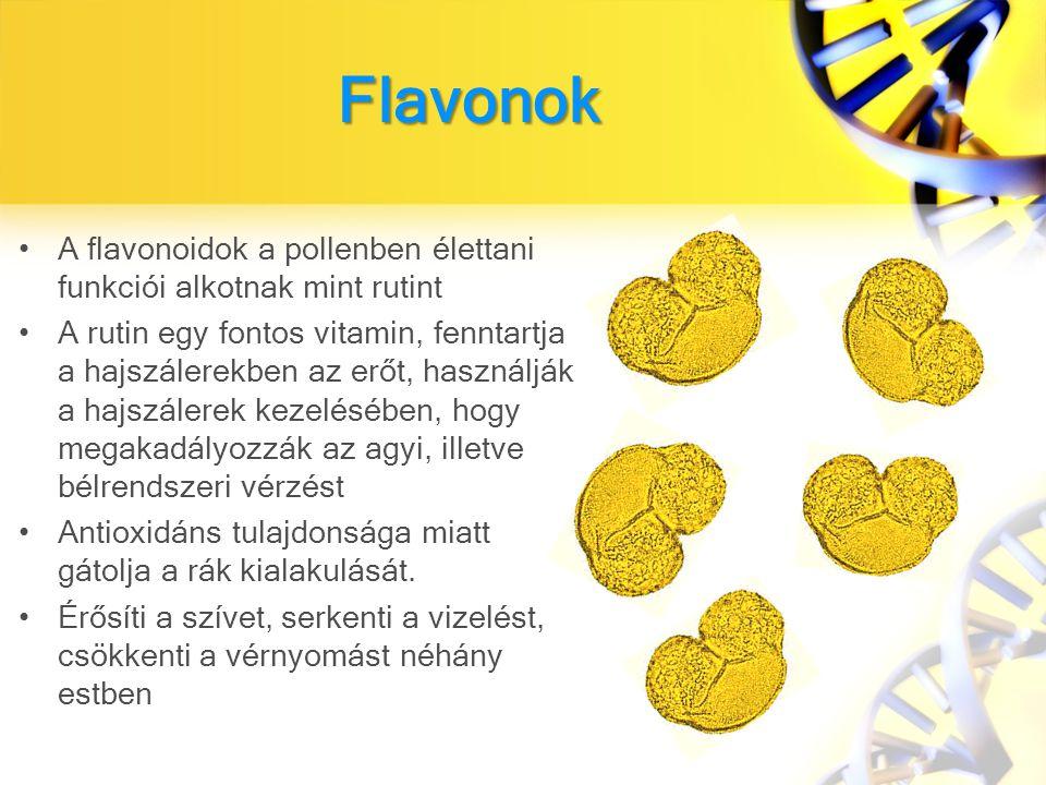 Flavonok A flavonoidok a pollenben élettani funkciói alkotnak mint rutint.