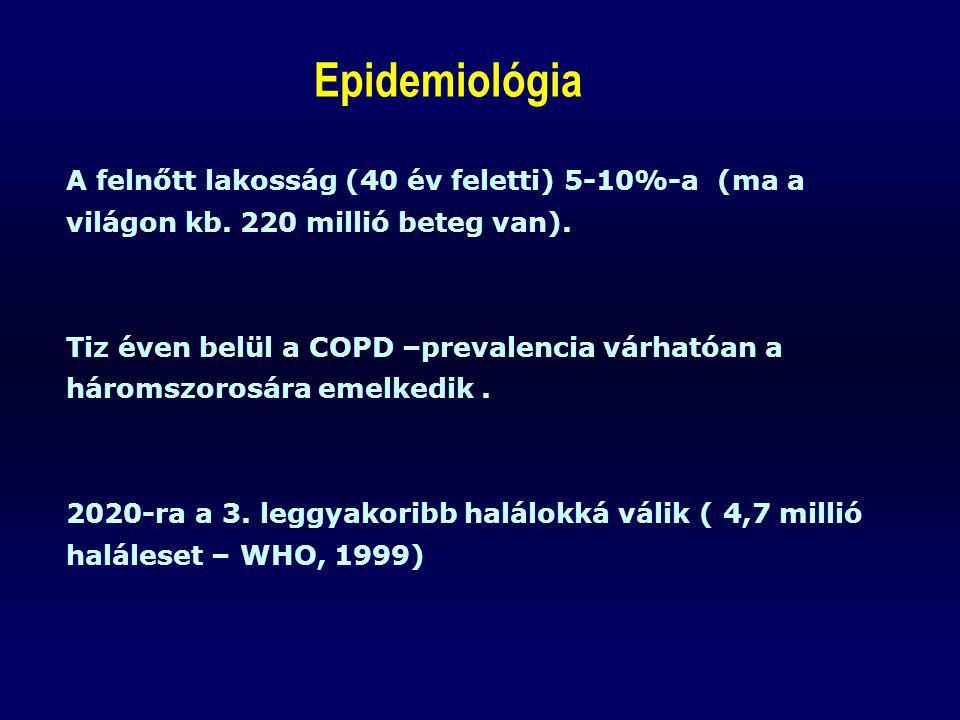 Epidemiológia A felnőtt lakosság (40 év feletti) 5-10%-a (ma a világon kb. 220 millió beteg van).
