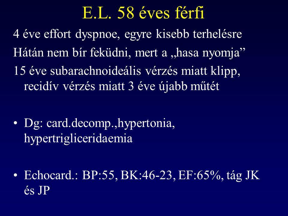 E.L. 58 éves férfi 4 éve effort dyspnoe, egyre kisebb terhelésre