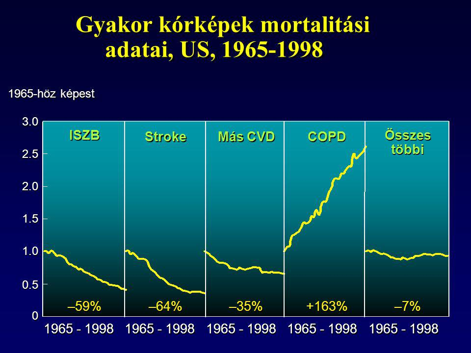 Gyakor kórképek mortalitási adatai, US, 1965-1998