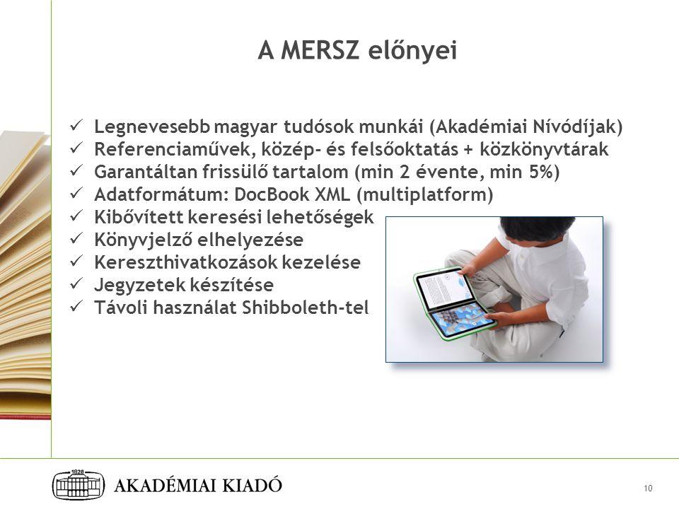 A MERSZ előnyei Legnevesebb magyar tudósok munkái (Akadémiai Nívódíjak) Referenciaművek, közép- és felsőoktatás + közkönyvtárak.