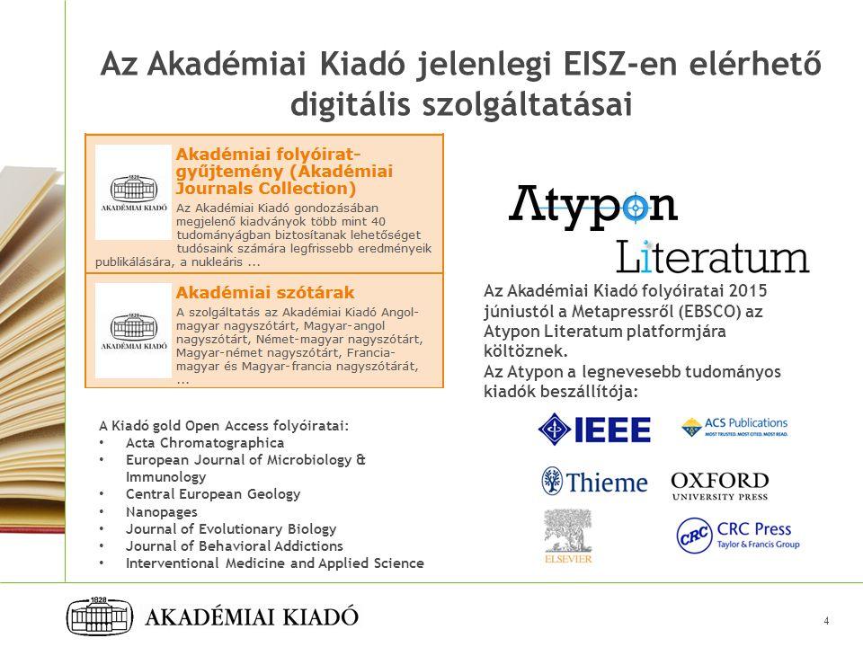 Az Akadémiai Kiadó jelenlegi EISZ-en elérhető digitális szolgáltatásai
