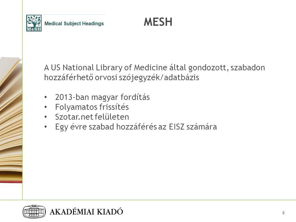 MESH A US National Library of Medicine által gondozott, szabadon hozzáférhető orvosi szójegyzék/adatbázis.
