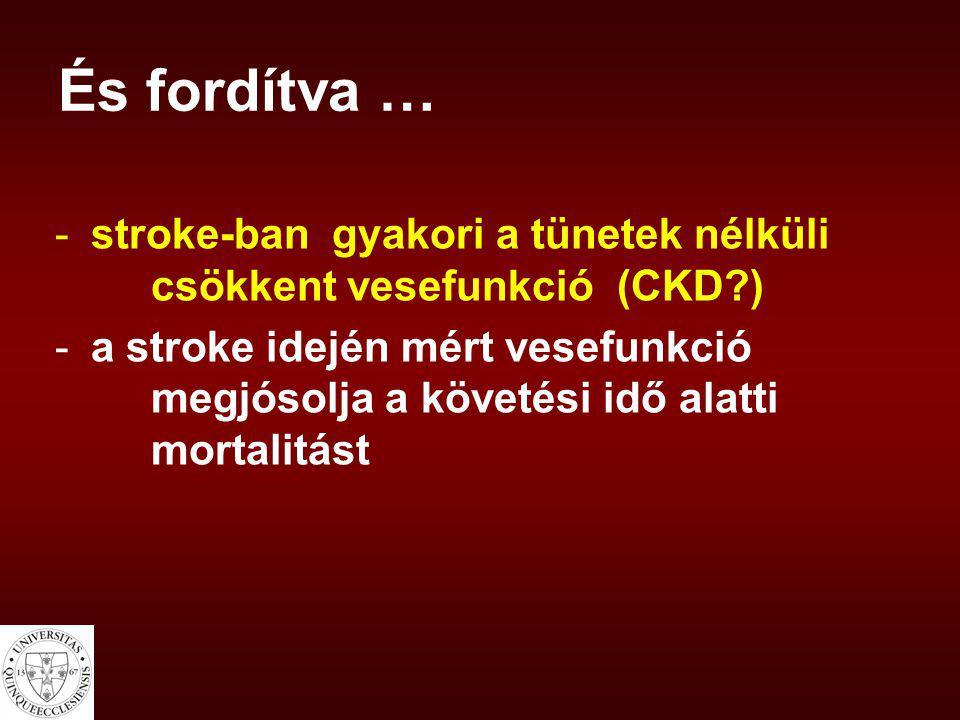 És fordítva … stroke-ban gyakori a tünetek nélküli csökkent vesefunkció (CKD )