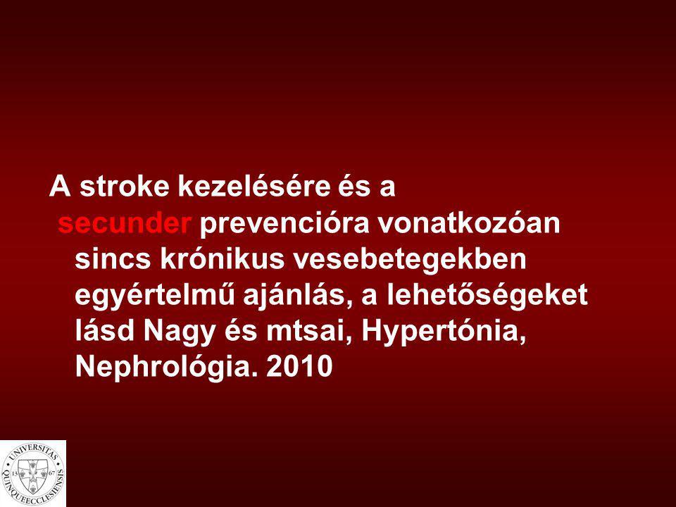 A stroke kezelésére és a secunder prevencióra vonatkozóan sincs krónikus vesebetegekben egyértelmű ajánlás, a lehetőségeket lásd Nagy és mtsai, Hypertónia, Nephrológia.