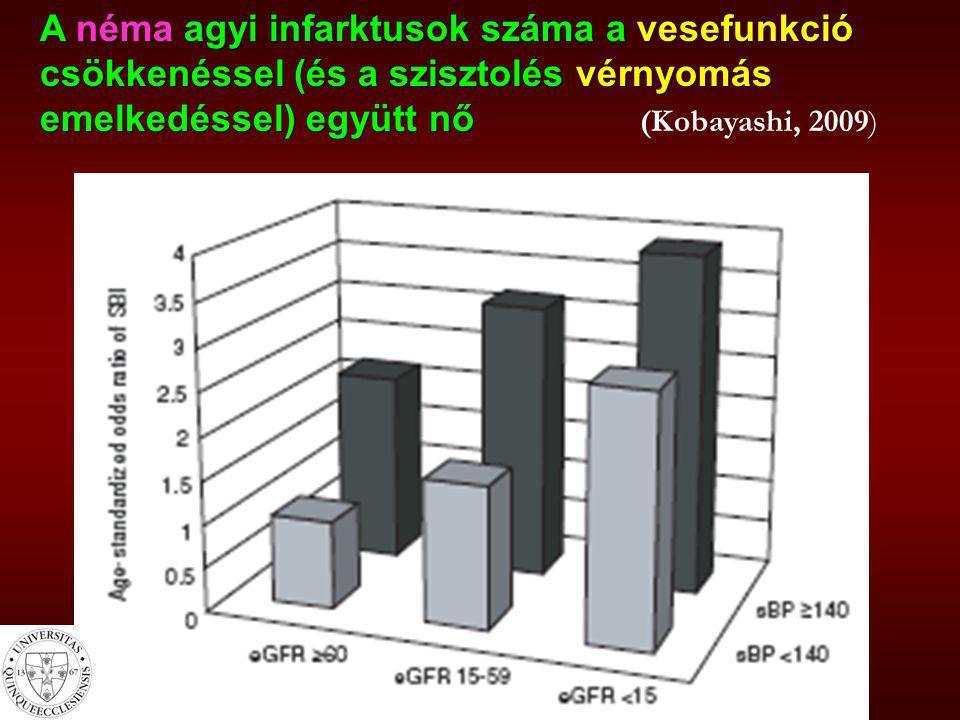 A néma agyi infarktusok száma a vesefunkció csökkenéssel (és a szisztolés vérnyomás emelkedéssel) együtt nő (Kobayashi, 2009)