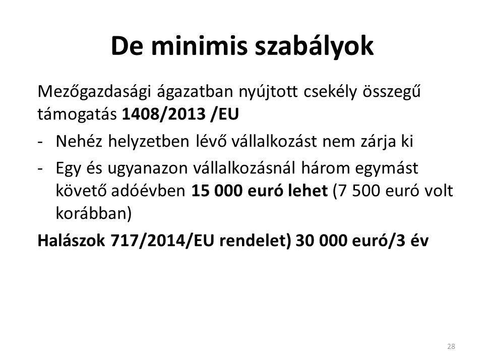 De minimis szabályok Mezőgazdasági ágazatban nyújtott csekély összegű támogatás 1408/2013 /EU. Nehéz helyzetben lévő vállalkozást nem zárja ki.