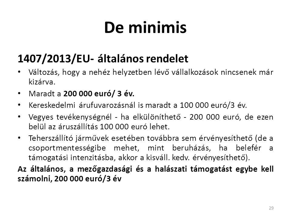 De minimis 1407/2013/EU- általános rendelet
