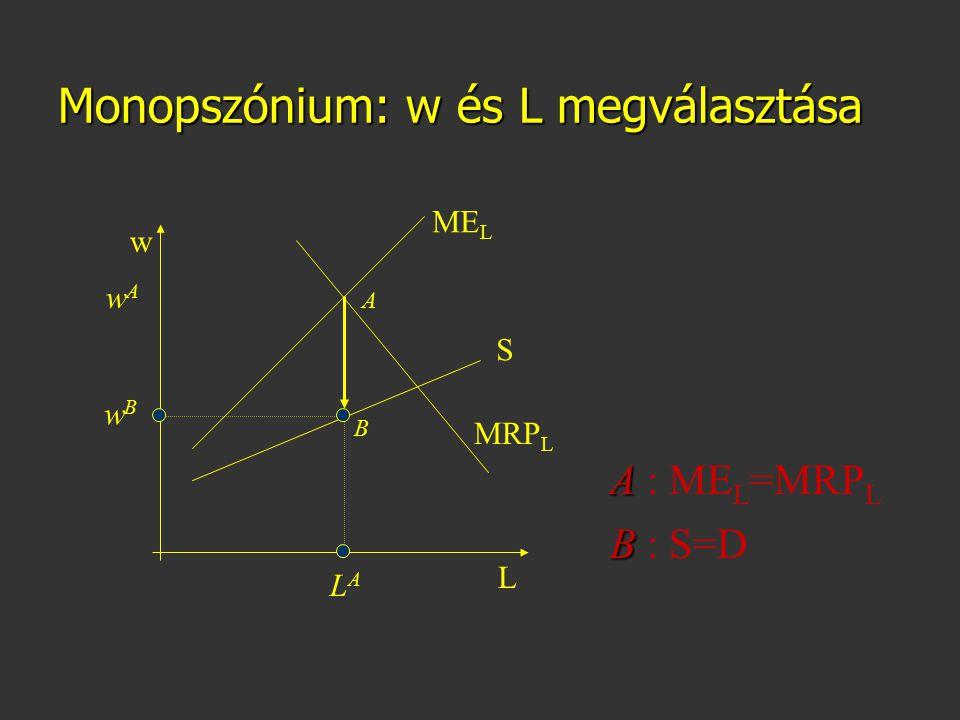 Monopszónium: w és L megválasztása