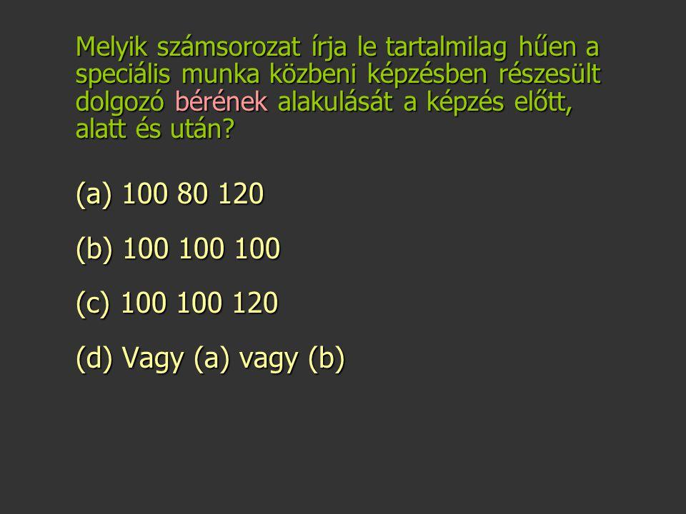 (a) 100 80 120 (b) 100 100 100 (c) 100 100 120 (d) Vagy (a) vagy (b)