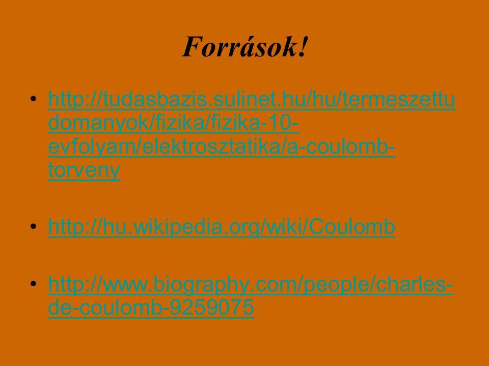 Források! http://tudasbazis.sulinet.hu/hu/termeszettudomanyok/fizika/fizika-10-evfolyam/elektrosztatika/a-coulomb-torveny.
