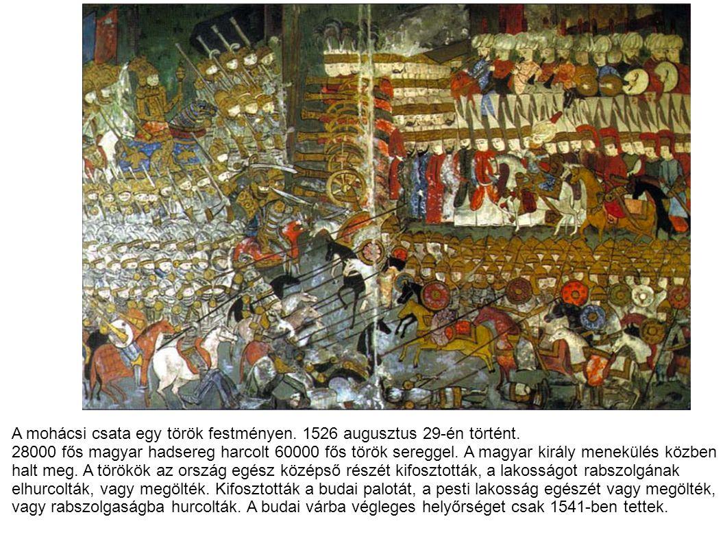A mohácsi csata egy török festményen. 1526 augusztus 29-én történt.