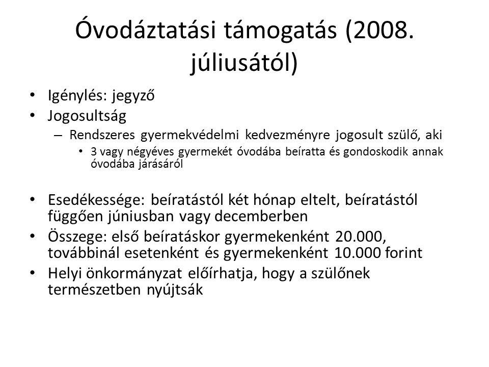 Óvodáztatási támogatás (2008. júliusától)