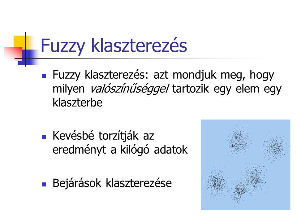 Fuzzy klaszterezés Fuzzy klaszterezés: azt mondjuk meg, hogy milyen valószínűséggel tartozik egy elem egy klaszterbe.