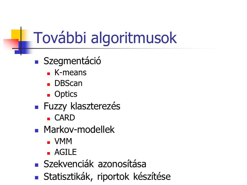 További algoritmusok Szegmentáció Fuzzy klaszterezés Markov-modellek