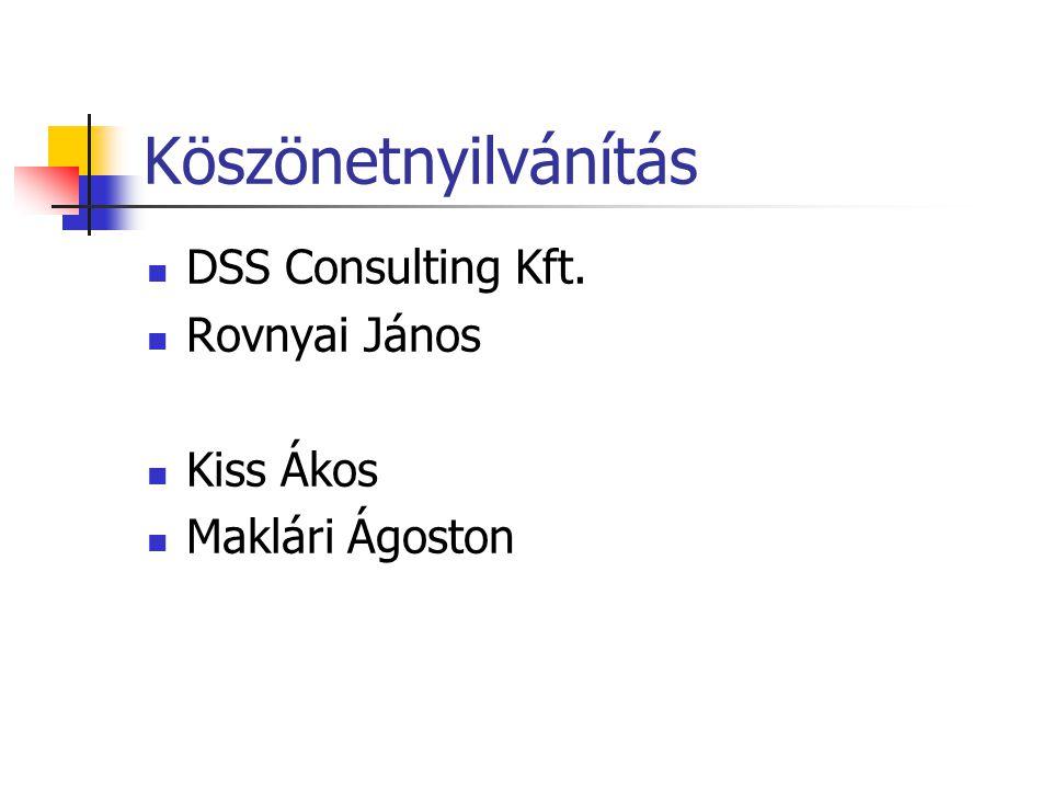 Köszönetnyilvánítás DSS Consulting Kft. Rovnyai János Kiss Ákos