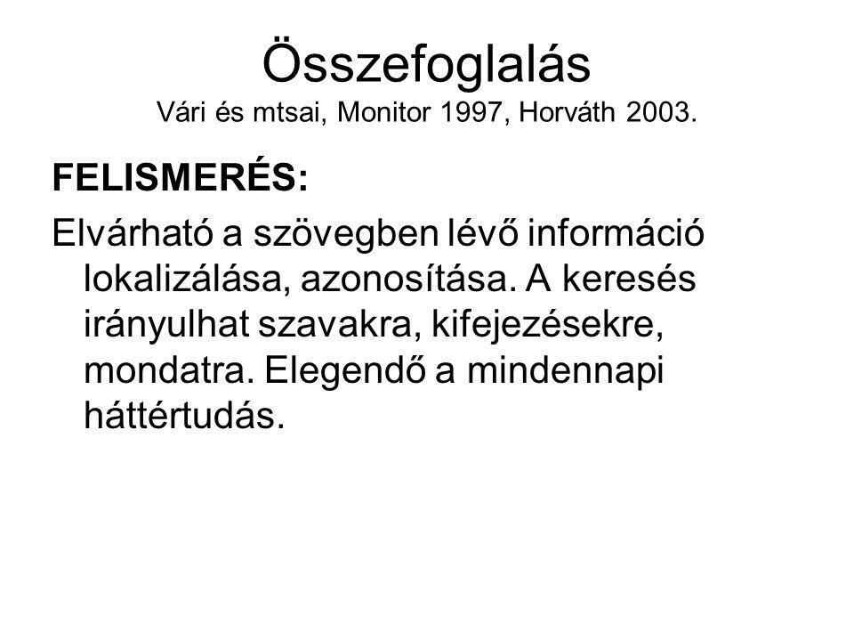 Összefoglalás Vári és mtsai, Monitor 1997, Horváth 2003.